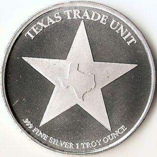 Texas Trade Unit,  Lighthouse 1 Troy Ounce, .  999 Fine Silver Coin,  2014 photo