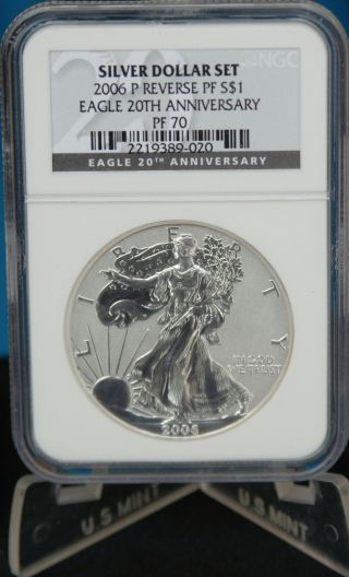 2006 P 20th Anniversary Silver Eagle Dollar Pr 70 $1 Reverse Proof Ngc Pf70 photo