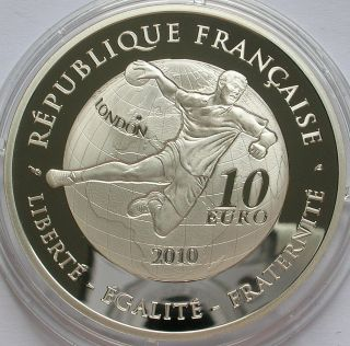 2010 France Silver Proof €10 Euro Coin Handball Big Ben photo