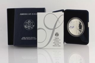 2004 W American Silver Eagle Proof Coin - 1oz.  999 Fine Dollar Ase Box photo