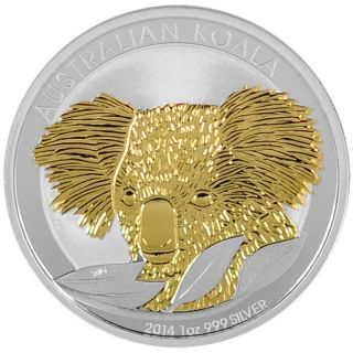 2014 1 Oz Ounce Silver Coin Gold Gilded Koala Bear Perth 999 Rare 24k Gold photo