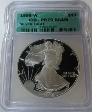 Rare 1995 - W Proof American Silver Eagle Certified Pr70 Dcam photo