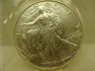 2000 Silver Eagle 1 Oz.  Fine Silver - Dollar photo
