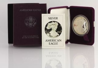 1986 American Silver Eagle Proof Coin - 1oz.  999 Fine Dollar Ase Box photo