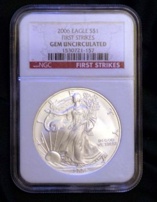 2006 Silver Eagle 1 Oz First Strike Red Label Ngc Labeled photo