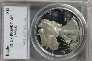 1990 - S (proof) Silver American Eagle Pr - 69 Dcam Pcgs photo