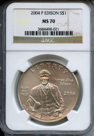 Blazing 2004 P Ngc Rated Ms 70 Silver Thomas Edison Commemorative $1 photo