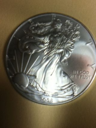 2008 Siver Eagle.  999 Fine Silver Uncirculated Brilliant photo