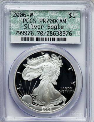 2006 W W Silver American Eagle Pcgs Pr 70 Dcam 1 Oz. photo
