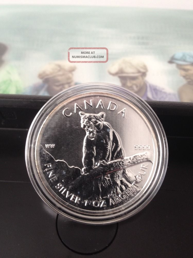 2012 Silver Cougar - 1 Troy Ounce Of.  999 Silver - Canadian Coin Silver photo
