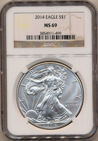 2014 S Ase Ngc Brown Label Ms69 American Silver Eagle Inv 499 photo