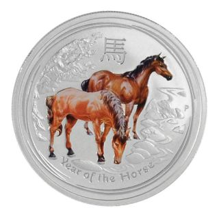 2014 1/2 Oz Ounce Silver Coin Colorized Lunar Year Of The Horse Perth.  999 Fine photo