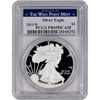 2013 - W American Silver Eagle Proof - Pcgs Pr69 Dcam - West Point Label photo