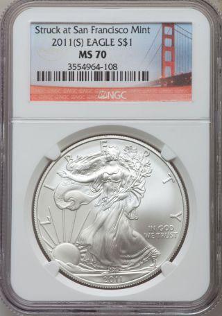 2011 - S Silver Eagle Ms70 Bay Bridge Label photo
