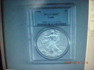 1996 Silver American Eagle Key Date.  999 - 1oz Silver Grade Ms67 - Pcgs photo