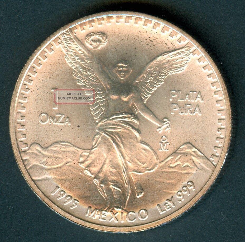 5 X Mexico Silver Libertad 1995 1 Onza Plata Pura 1 Tr