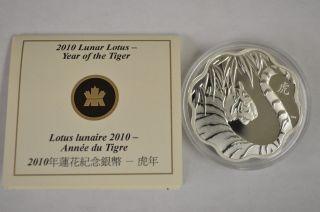 Canada 2010 $15 Sterling Silver Lunar Tiger Scalloped No Box photo