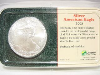 2003 Silver American Eagle Coin Liberty Walking Uncirculated photo