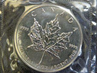 1989 Silver 5 Dollar Maple Leaf Canadian 1 Oz.  Coin Buillion Bu Uncirculated photo