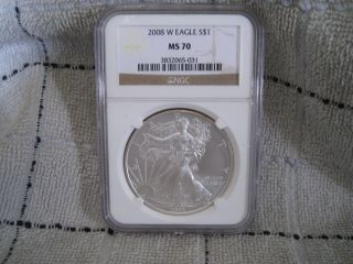 Ngc 2008 W Burnish Dye Silver Eagle Ms 70 Brown Label. photo