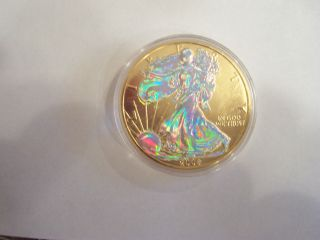 2006 Gold Coloried American Eagle Hologram.  999 Silver Unc. photo
