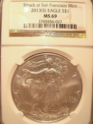 2013 (s) $1 Silver Eagle Ngc69 Silver Eagle Brown Label photo