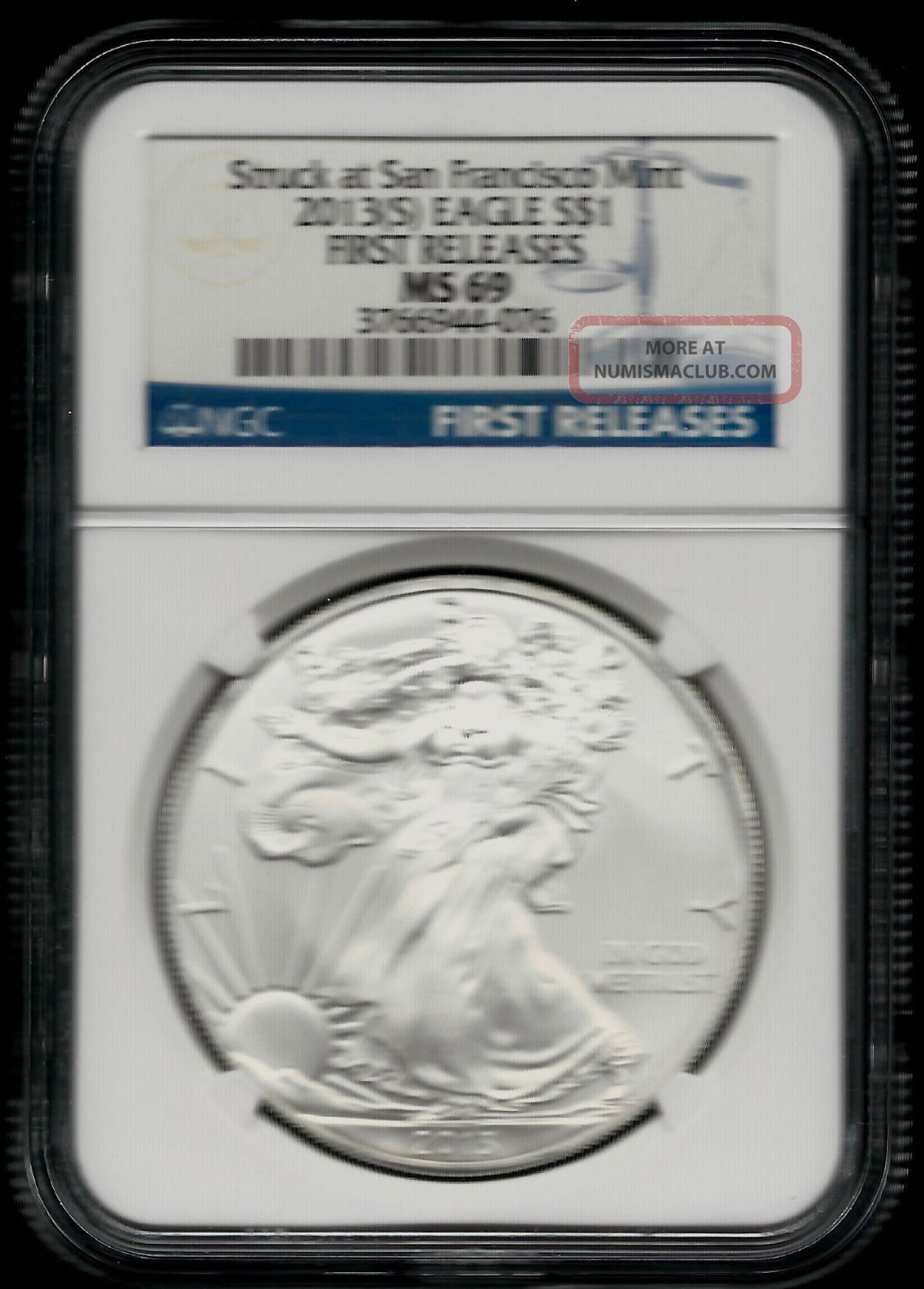 2013 (s) American Silver Eagle (fr) - Ngc Ms 69 - Blue Label - 1 Oz Silver photo