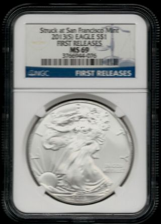 2013 (s) American Silver Eagle (fr) - Ngc Ms 69 - Blue Label - 1 Oz photo