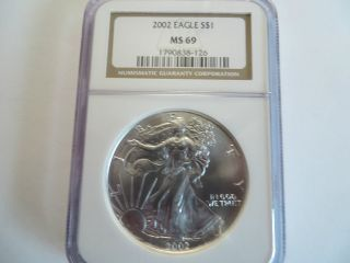 2002 1 Oz Silver American Eagle,  Ngc Ms 69 photo