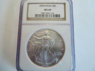 2004 1 Oz Silver American Eagle,  Ngc Ms 69 photo