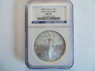 2008 1 Oz Silver American Eagle,  Ngc Ms 69,  Early Release photo