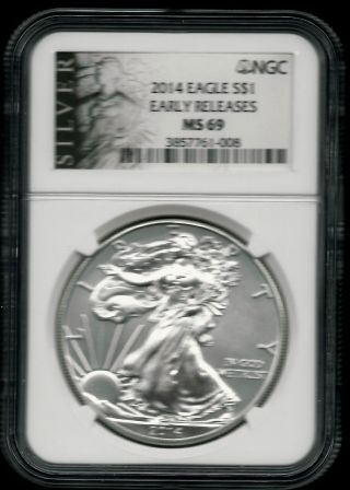 2014 Silver Eagle (er) - Ngc Ms 69 - Bu 1 Oz.  999 Fine Silver photo