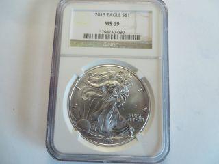 2013 1 Oz Silver American Eagle,  Ngc Ms 69 photo