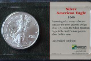2000 American Eagle Silver,  1oz. .  999 Pure photo