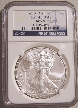 2013 Ms69 First Releases Silver Eagle One Troy Ounce photo