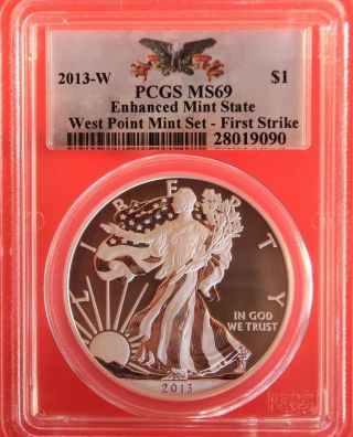2013 - W Silver Eagle,  Enhanced State,  Pcgs Graded Ms69,  First Strike photo