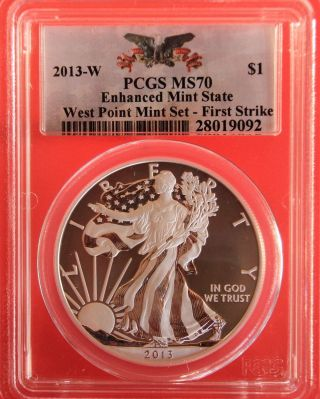 2013 - W Silver Eagle,  Enhanced State,  Pcgs Graded Ms70,  First Strike photo