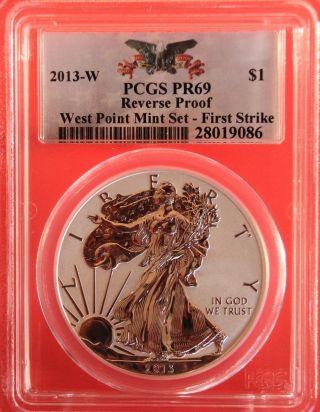 2013 - W Silver Eagle,  Reverse Proof,  Pcgs Graded Pr69,  First Strike photo
