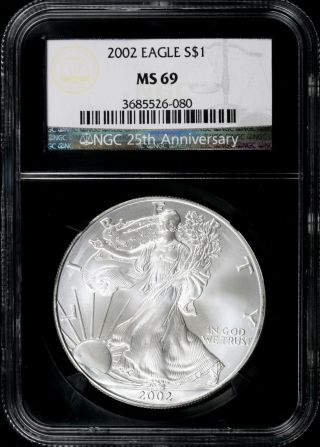 2002 $1 Ngc Ms69 American Silver Eagle 25th Anniversary Retro Slab photo