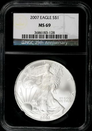 2007 $1 Ngc Ms69 American Silver Eagle 25th Anniversary Retro Slab photo