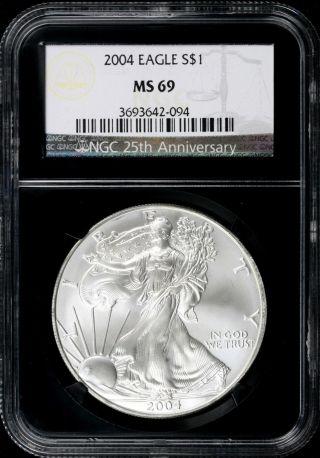 2004 Silver American Eagle 25th Anniversary Retro Slab $1 Dollar Coin Ngc Ms69 photo
