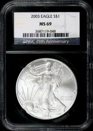 2003 $1 Ngc Ms69 American Silver Eagle 25th Anniversary Retro Slab photo