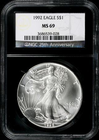 1992 $1 Ngc Ms69 American Silver Eagle 25th Anniversary Retro Slab photo