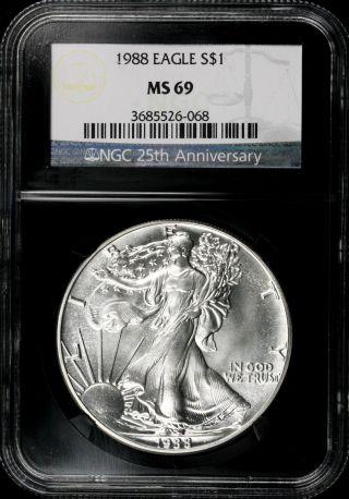 1988 $1 Ngc Ms69 American Silver Eagle 25th Anniversary Retro Slab photo