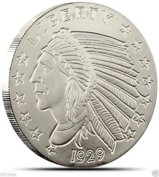 1 Oz Incuse Indian Silver Round.  999 Fine Silver By Golden State photo