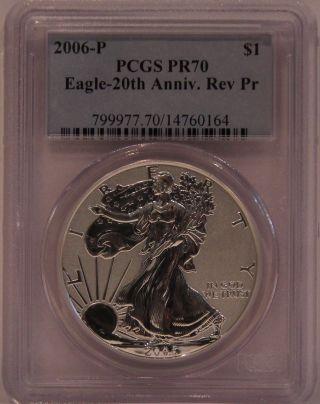 2006 - P Pcgs Reverse Proof Pr70 Silver Eagle - Silver Eagle 20th Anniversary Coin photo