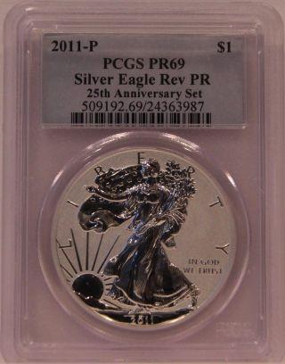 2011 - P 25th Anniversary Silver Eagle Pcgs Reverse Pr69 With Blue Label photo