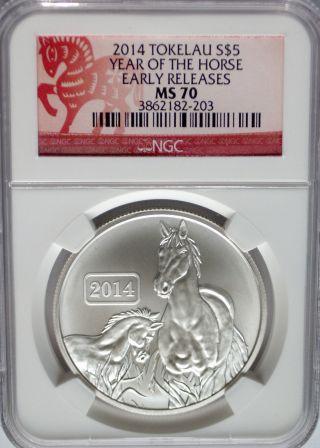 Ngc Registry 2014 Tokelau Horse $5 Coin Ms70 Perfect Grade Silver 1oz.  999 Er Bu photo