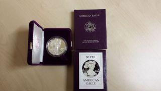 1986 - S 1 Oz Troy Proof Silver American Eagle W / Box & photo