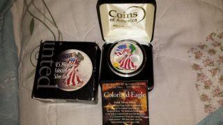 1 Oz.  999 Silver Walking Liberty Painted Enamel - 2000 - photo